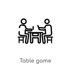 Outline table game icon isolated black simple vector