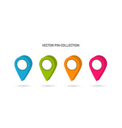 pin collection map pin set location point colorful vector image