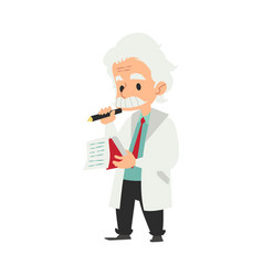 professor or scientist writing idea in a notebook vector image