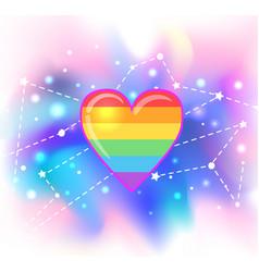rainbow heart symbol lgbt community gay pride vector image