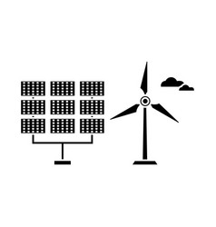 renewable energy black icon concept renewable vector image