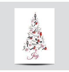 Retro Christmas Card - Birds on Christmas Tree vector image vector image