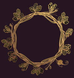 Round golden frame of oak branches with leaves vector