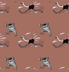 Running ostrich and mummy seamless pattern vector