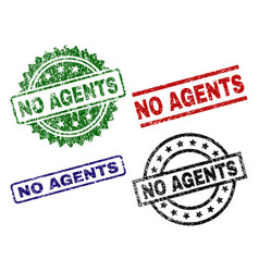 scratched textured no agents seal stamps vector image