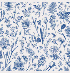 seamless pattern with garden flowers vector image
