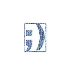 Semicolon textile stamp vector