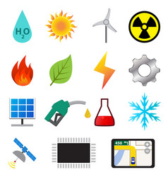 Set of power and energy system in flat color icons vector