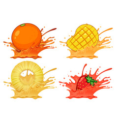 set of splash fruit juice vector image