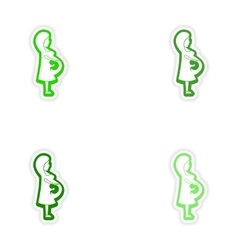 Set paper stickers on white background pregnant vector