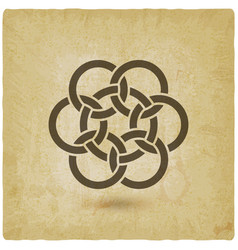 seven interlocked circles vintage background vector image