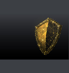 shield low poly gold vector image