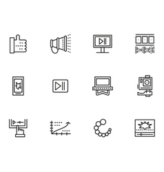 Simple line icons set for v-blog vector image vector image