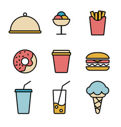 simple set food icons in trendy line style vector image