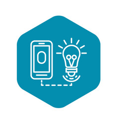 Smart bulb control icon outline style vector