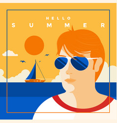 summer background flat design summer time 7 vector image