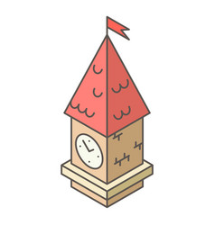 tower clock icon isometric style vector image