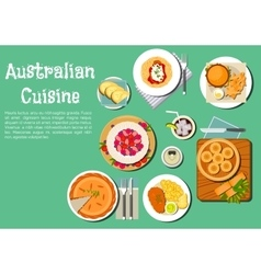 Traditional australian cuisine dishes flat icon vector