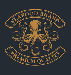 Vintage emblem with an octopus for seafood theme vector