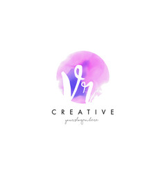 Vr watercolor letter logo design with purple vector
