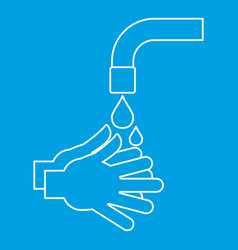 Washing hands icon outline style vector