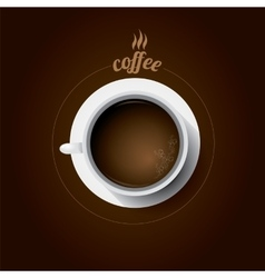 White cup of coffee flat lay coffee mug vector