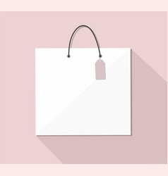 white paper shopping bag with handles vector image