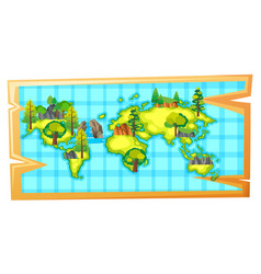 Worldmap with natural resources on earth vector