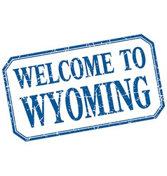 Wyoming - welcome blue vintage isolated label vector