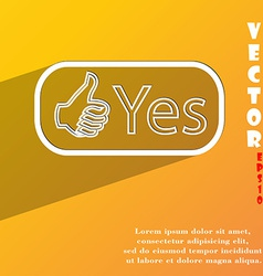Yes icon symbol Flat modern web design with long vector