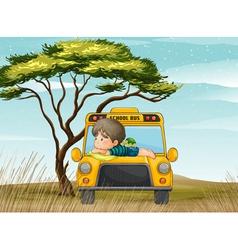 a school bus and boy vector image vector image