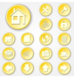 abstract yellow round paper icon set vector image