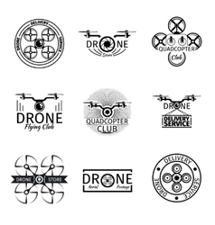 Aerial drone flying club labels badges and logos vector image vector image
