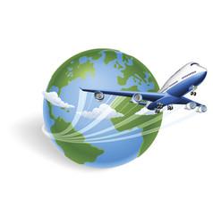 airplane globe concept vector image