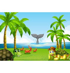 Animals and ocean vector image vector image