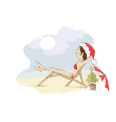 christmas vacation on the beach vector image vector image
