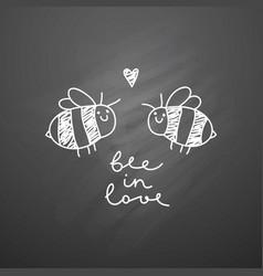 Cute bees couple vector