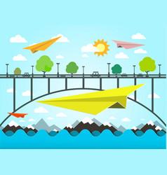 landscape with paper plains bridge and ocean vector image vector image