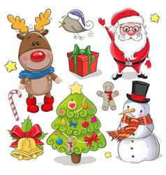 Set of cute christmas design elements vector