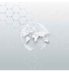 White dotted world globe connecting lines and vector image vector image