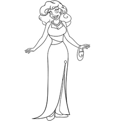 African Woman In Evening Dress Coloring Page vector image vector image
