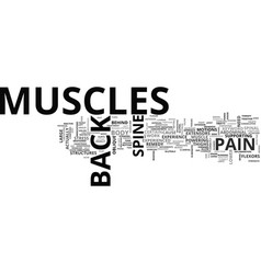 back pain muscles text word cloud concept vector image vector image