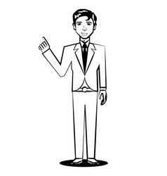 business man comic outline vector image