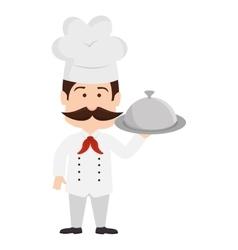 chef platter mustache hat graphic icon vector image