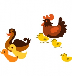 ducks and chickens vector image vector image