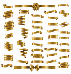 golden ribbon set vector image vector image