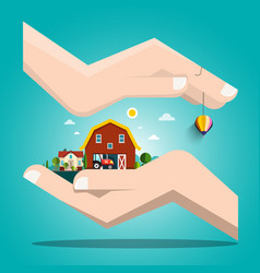 Landscape with houses in human hands vector