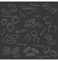 types of pasta food outline symbols on black board vector image vector image