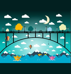 abstract flat design landscape with bridge and vector image vector image