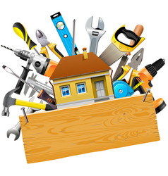 construction tools with house vector image vector image
